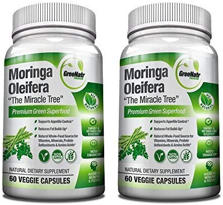 GreeNatr Moringa Oleifera Leaf Extract – Mood, Memory and Focus Enhancer – 120 Veggie Capsules Gluten Free 2 Bottles