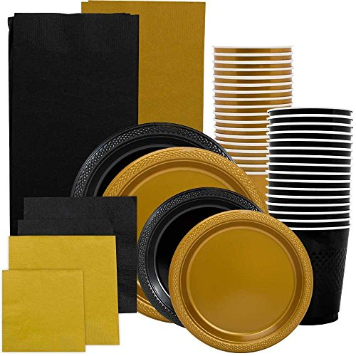 JAM Paper Party Supply Assortment - Black & Gold Grad Pack - Plates (2 Sizes), Napkins (2 Sizes) , Cups & Tablecloths - 12/pack