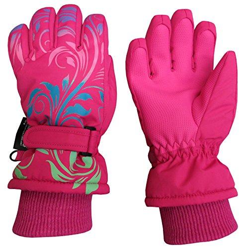 - N'Ice Caps Little and Big Girls Ombre Shaded Scroll Print Ski Gloves (11-13 Years, Fuchsia/Multi)