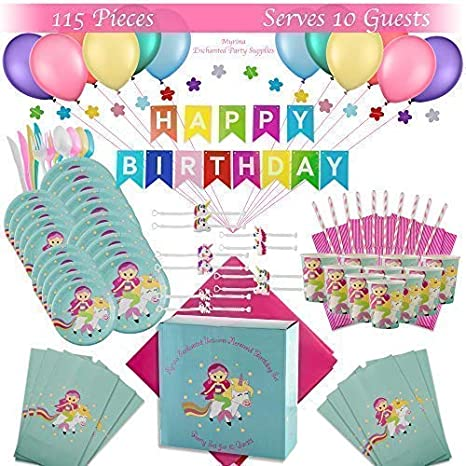 Premium Magical Unicorn Mermaid Birthday Party Supplies Decorations Favors Set
