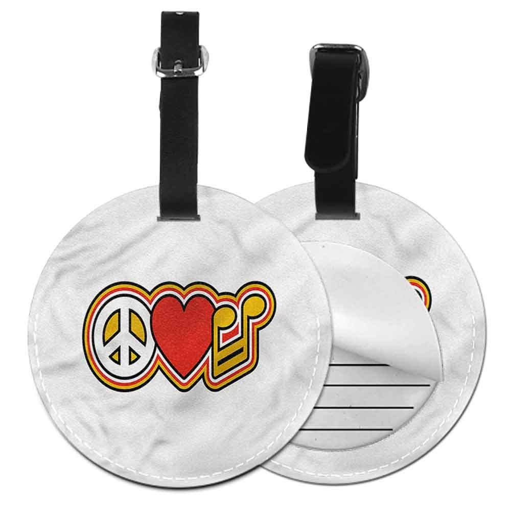 Funky Travel Luggage Tags Groovy,Peace Equality Flower Label Travel Accessories