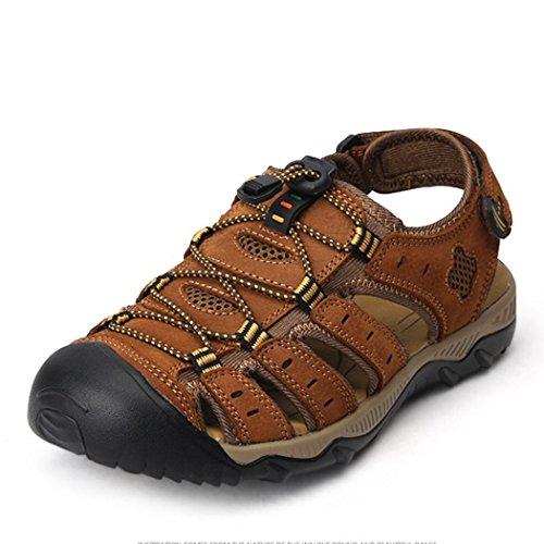 Fengda Mens Spets-up Läder Sandal Utomhus Skor Brun