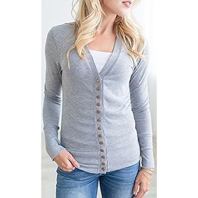 NENONA Women's V-Neck Button Down Knitwear Long Sleeve Soft Basic Knit Cardigan Sweater at Women's Clothing store