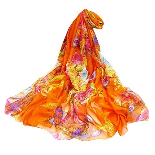 HYIRI Easy Care Women Ladies Scarf Feather Print Sunscreen shawl Wrap Silk Shawl Scarves
