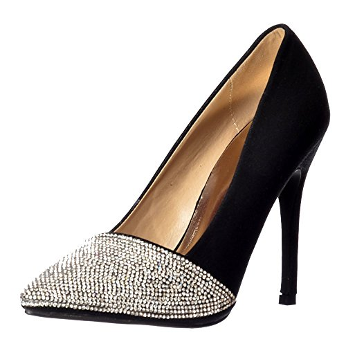 Onlineshoe Encrusted Toe Mid Diamante Black Silver Heel Womens Pumps Schwarz Party Pointed qqnT1w6B