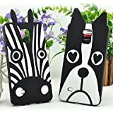 ZX Lovely Cute 3D Dog Zebra Animal Cartoon Soft Silicone Case Cover for Samsung Galaxy Note 4 , 1#