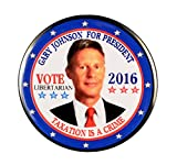"""Pack-1 Gary Johnson / Taxation Is A Crime Pin-Back Button Valxart 2.25"""", 2016"""