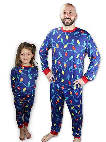 Knitpopshop Matching Family Christmas Lights Pajama Pjs Holiday Set, Kids, Adults, Womens, Mens Custom Red Blue Green