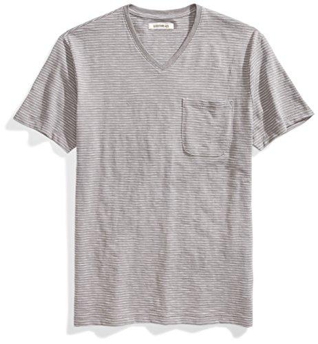 Goodthreads Men's Lightweight Slub V-Neck Pocket T-Shirt, Castle Rock/Grey/White Stripe, XX-Large