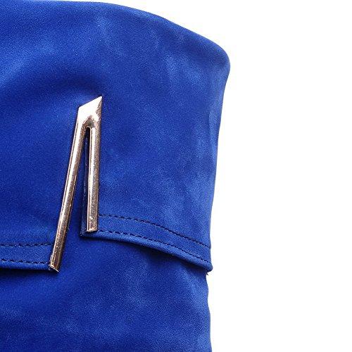Allhqfashion Da Donna Smerigliato Con Tacco Alto E Stivaletti A Punta Arrotondata Blu