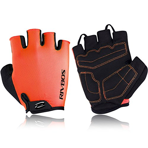 RIVBOS Bike Gloves Cycling Gloves Fingerless for Men Women with Foam Padding Breathable Mesh Fashion Design for Mountain Bicycle Motorcycle Riding Driving Sports Outdoors Exercise CHG001 (Orange L)