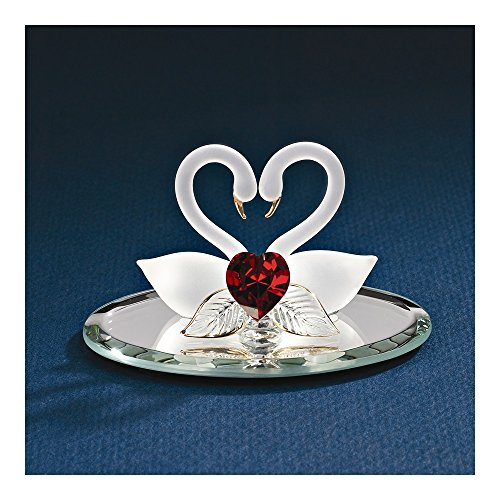 Goldia Best Birthday Gift Swan Pair with Red Heart Glass Figurine from Goldia