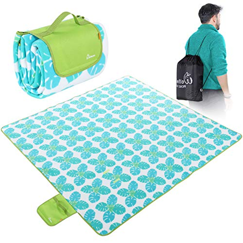 WolfWise 79'x79' XXL Picnic Blanket Extra Large Fleece Beach Mat with Waterproof Backing Anti Sand, Green Leaves