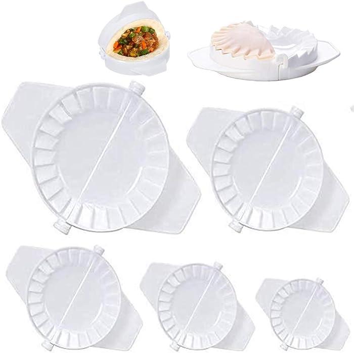 5 Pcs Dumplings Maker, Dumpling Tools, Different Sizes of Dumpling Mold, Perfect for Making Hand pies, Dumplings, Ravioli, Calzones, Dough Press Cutter 5.5/7.5/9.5/12/15.5cm