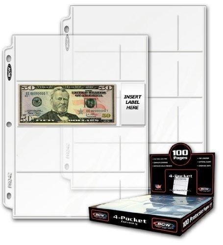 BCW 20 (Twenty) Pro 4-Pocket MODERN Currency Storage Page - Coin & Currency Collecting Supplies. Made in USA