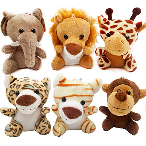 OuMuaMua Jungle Animal Plush Toys Stuffed Animals Set - 6pcs Cute Small Zoo Animals Plush Keychains for Kids Animal Themed Parties,Kindergarten Fun, Teacher Student Achievement Award
