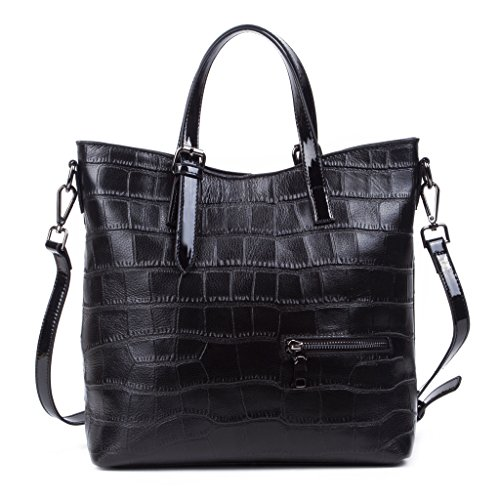 Women Classic Fashion Crocodile Textured Top Double Handle Structured Perfect Large Tote Handbag Leather Shoulder Bag Black (Large Textured Leather Tote)