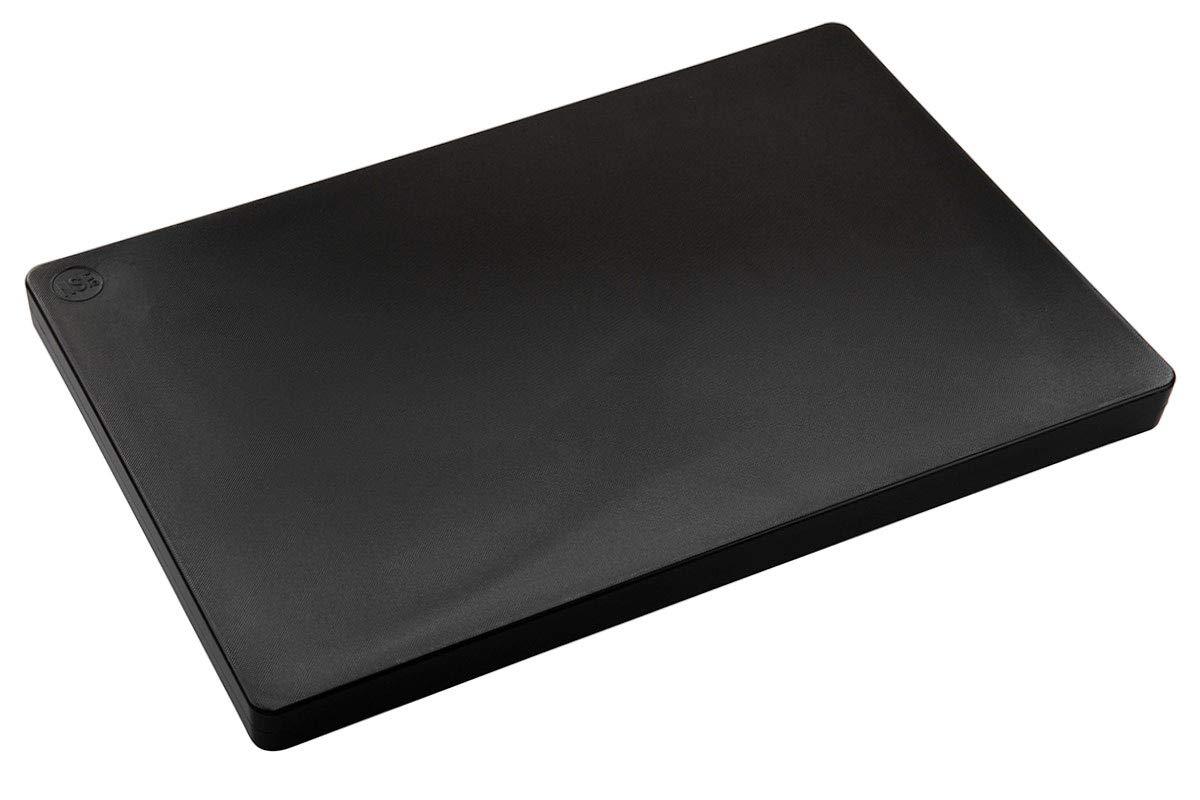 Restaurant Thick Plastic Cutting Board, NSF, FDA Approved - 18 x 12 x 1 Inch (18 x 12 x 1 Inch (Black))