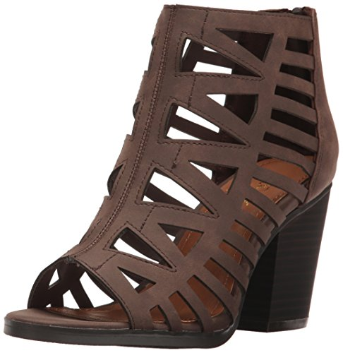 Sugar Women's Vacation Strappy Peep Toe Block Heel Stacked Bootie, Dark Brown Smooth, 11 M US ()