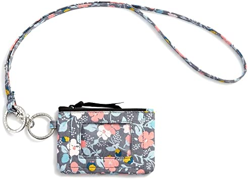 Inspring Zip ID Case Keychain Wallet ID Holder ID Badge Holder for Women Coin Purse with Tassel Floral Fabric
