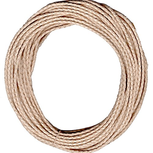 Braided Leather Cord 3 MM (approx) Natural 10 Meters length, not dyed or varnished. ()