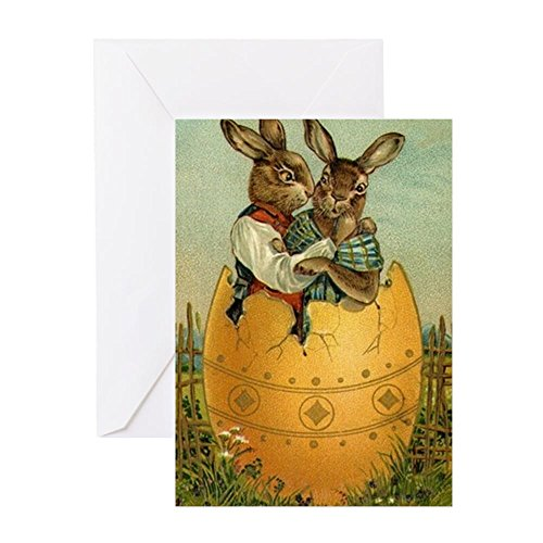 CafePress - Vintage Easter Bunnies - Greeting Card, Note Card, Birthday Card, Blank Inside Glossy