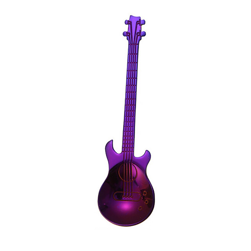Cyhulu 2019 New Fashion Little Teaspoons Cute Solid Creative Exquisite Guitar Carved Stainless Steel Coffee Spoon Tea Spork Kitchen Tools (Purple, One size)