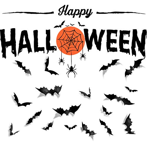 SATINIOR 25 Pieces DIY Happy Halloween Decorations Black PVC 3D Bat Stickers Halloween Bats and Spider Wall Decals Wall Sticker for Home Window, Display Window Decorative Party Supplies Set -