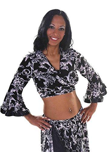 Belly Dance Black & White Long Sleeve Choli Top | Marisola