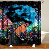 UniTendo African American 3D Retro Style Print Waterproof Polyester Shower Curtain with 12 Hooks for Bathroom Decor,72 x 72 inches, Blue Hair Afro Beauty.