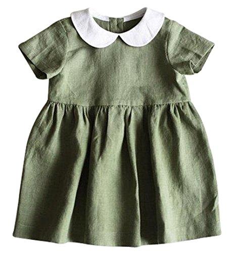 BANGELY Toddler Girls Turn Down Collar Short Sleeve Ruffle Pleated Dress Princess Party Tutu Dresses Size 3-6 Months/Tag70 - Tutu Collar