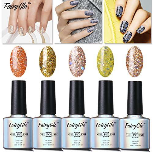 FairyGlo Well-Picked 5 Colour Combo Glitter Gel Nail Polish UV LED Soak Off Shimmer Manicure Stareter Kit Mirror Finish Gorgeous Pro Nail Art Collection Gift Set 10ml 001