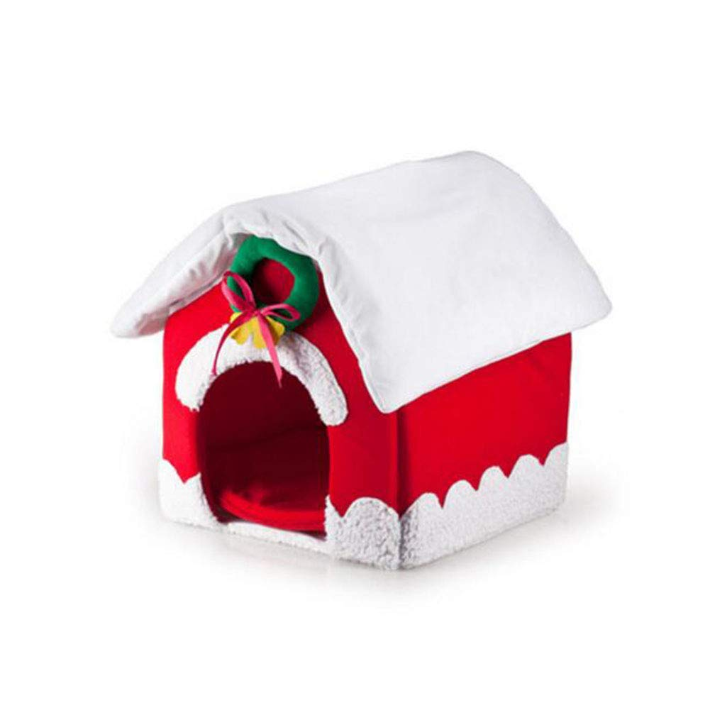 FH Pet Supplies Cat Nest Kennel Pet Nest Cute Christmas House Dog Cat Home