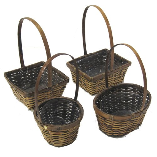 The Lucky Clover Trading Assorted Bamboo Stained Handle Baskets, Set of 4