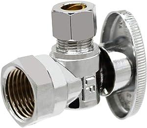 Monster&Master Brass Angle Stop Valve Shut Off Quarter Turn Water Sink Bathroom Toilet Kitchen Shower Plumbing, MM-FV-002
