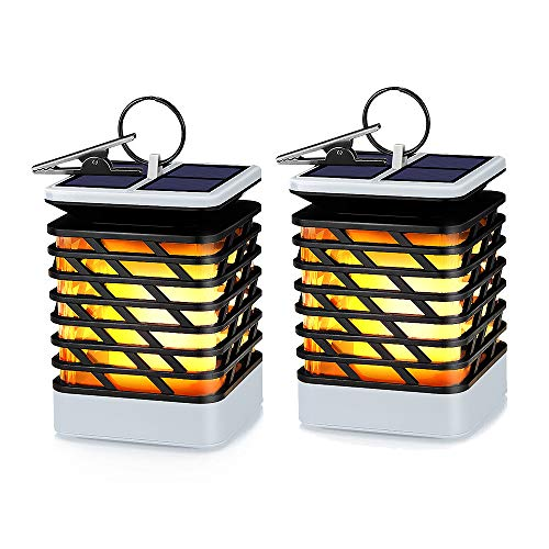 KORJO Solar Lights Outdoor Led Flickering Flame Torch Lights Solar Powered Hanging Lanterns Decorative Landscape Lights for Pathway Garden Deck Holiday Party, Auto On/Off, Waterproof [2 Pack] ()