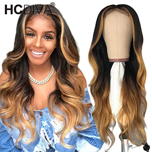 HCDIVA 13x4 Long Blonde Body Wave Transparent # 4/27 Ombre Lace Front Human Hair Wig Pre Plucked With Baby Hair Brazilian Remy Lace Wigs (16inch, 4/27 color) from HCDIVA