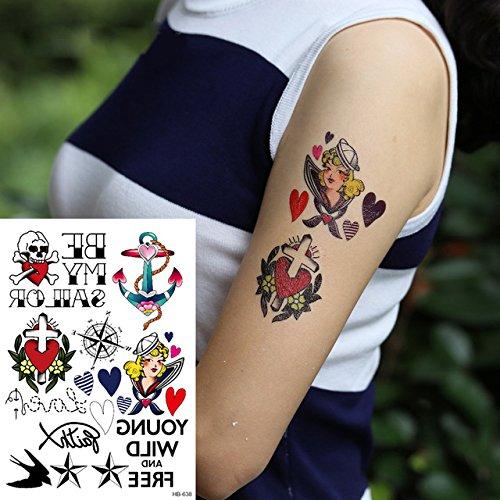 Oottati Tatuajes Temporales Muslo Brazo Brújula De Anclaje Cruz Del Corazón (2 hojas): Amazon.es: Belleza