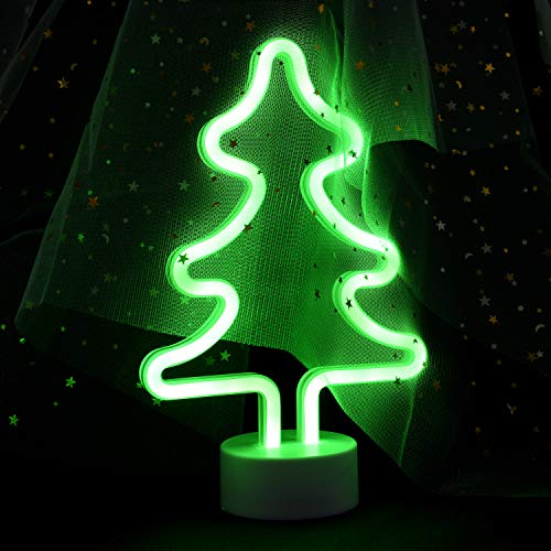 JJ POWER Neon Signs Night Light Nursery Lamp with Timer for Baby Child (Christmas Tree)