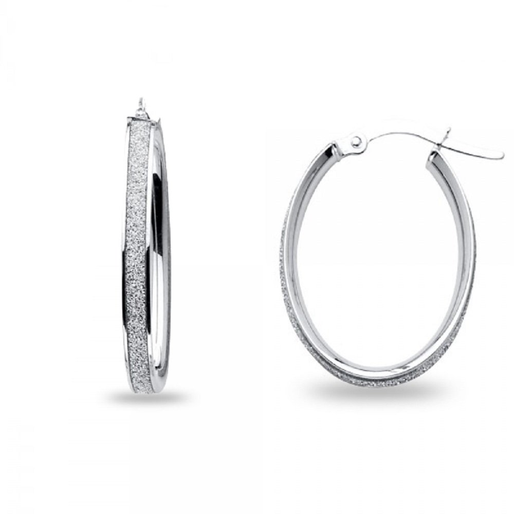Oval Hoops 14k White Gold Sparkling Center Earrings Diamond Look Sand Polished French Lock 23 x 4 mm
