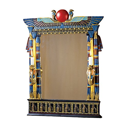 Wadjet Egyptian Wall Mirror with Cobra Sconces Glass Wall Mirror
