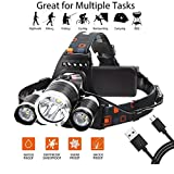 Ousili LED Headlamp,6000 Lumens 3 Light 4 Modes Super Bright USB Rechargeable Headlight Best for Outdoor Camping Biking Hunting Fishing