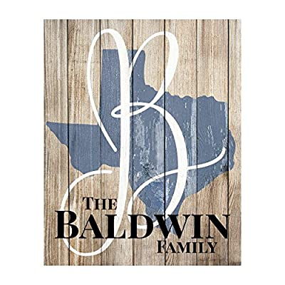 Personalized Rustic State Shaped Name Sign