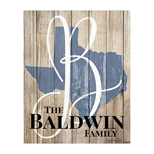 MRC Wood Products Personalized Rustic State Shaped Name Sign (For Wall Home Personalized Signs)