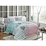 LaModaHome 4 Pcs Luxury Soft Colored Bedroom Bedding 100% Cotton Double Coverlet (Pique) Set Thin Summer/Pink Blue Love Heart Butterfly Shape Dotted Line/Double with Flat Sheet