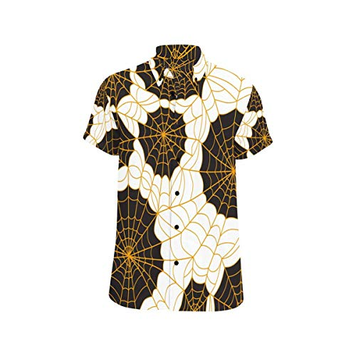 InterestPrint Button Down Regular Fit Spider Webs Black Orange Short Sleeve Casual Button Down Mens Shirts XXL ()