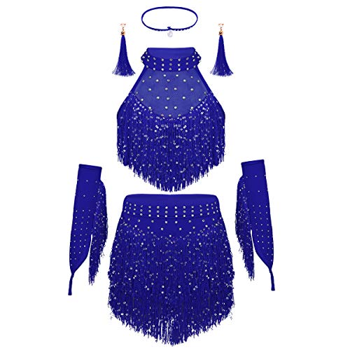 dPois Kids Girls' Samba Salsa Latina Dance Stage Performance Shiny Sequined Tassel Dress Crop Tops with Skirt 5Pcs Outfit Blue ()