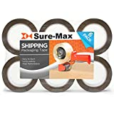 Sure-Max Premium Carton Packing Tape 2.0 mil 330 Feet (110 yards) - Brown/Tan - 6 Rolls