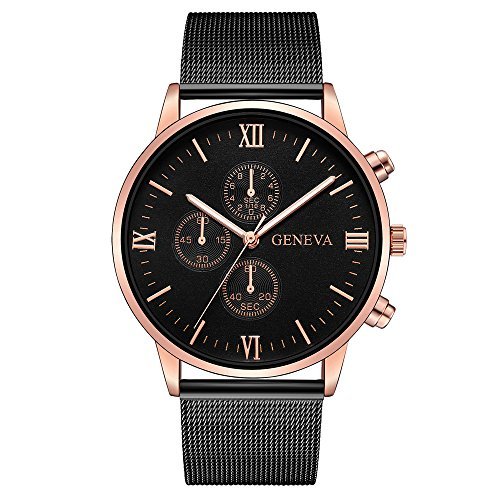 MOKO-PP Geneva Mens Watch Retro Stainless Steel Analog Alloy Quartz Wrist Watch(H)