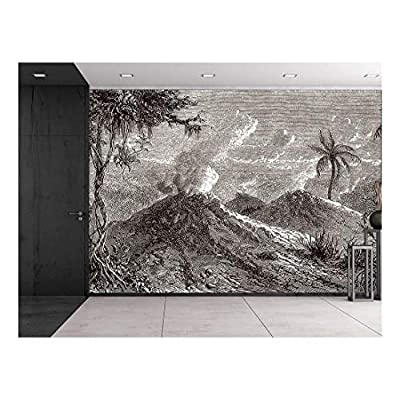Professional Creation, Incredible Work of Art, La Tour du Monde 1872 Engraved Volcanoes Turbaco Black and White Historical Etching Wall Mural